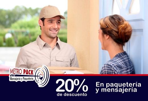 20% de descuento en paquetería y mensajería