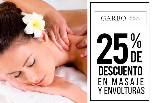 25% de descuento en masajes y envolturas