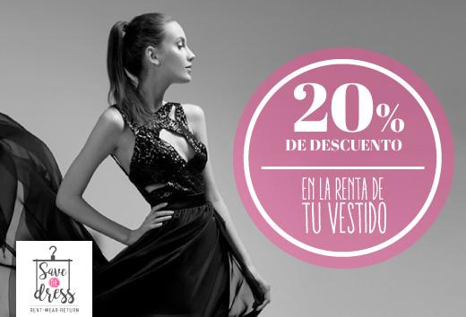 20% de descuento en la renta de tu vestido