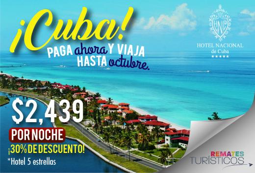 Cuba: $2,439 por noche en Hotel Nacional de Cuba
