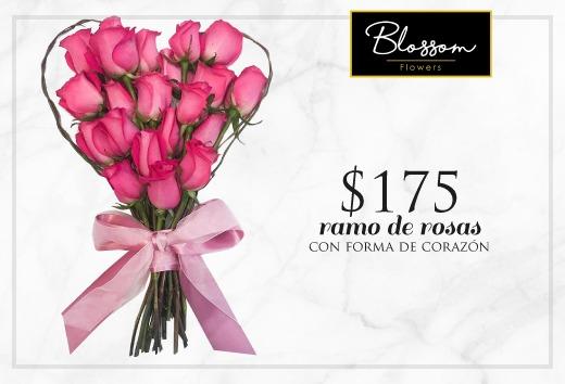 Ramo de rosas con forma de corazón $175