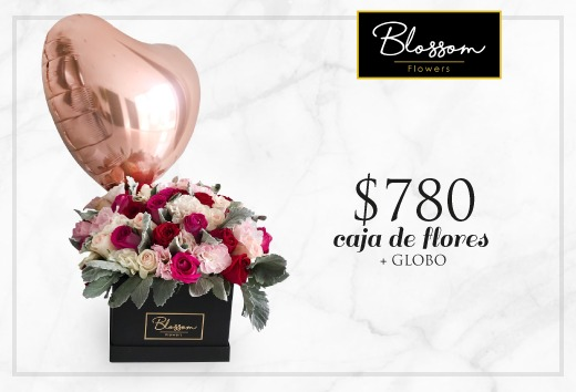 Caja de flores + globo a $780