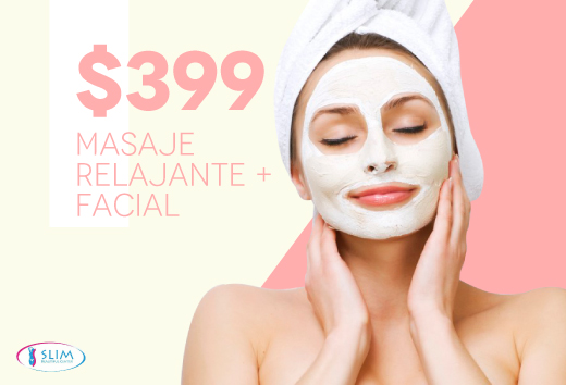 Masaje relajante + facial por sólo $399