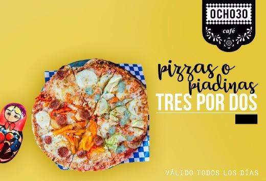 3 x 2 en pizzas o piadinas