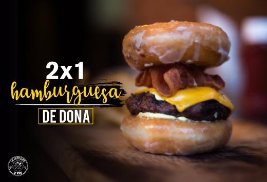 2 x 1 en hamburguesa de dona