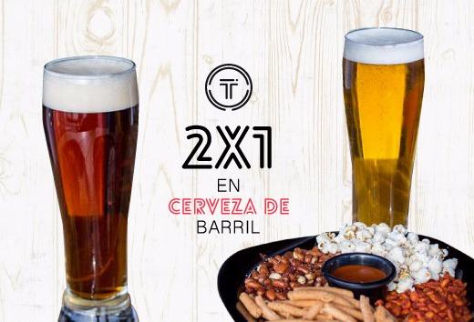 2 x 1 en Cerveza de Barril