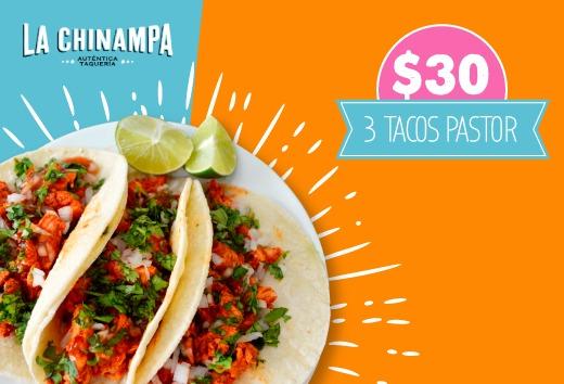 3 tacos pastor por $30