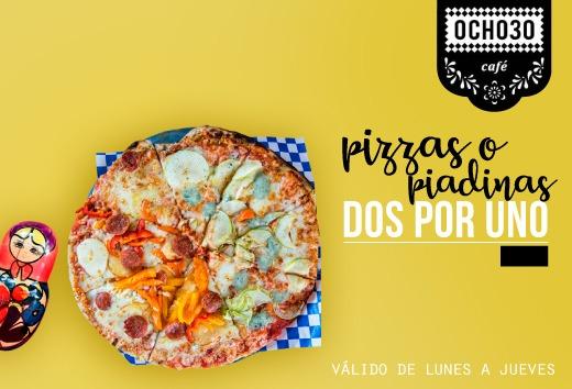 2 x 1 en pizzas o piadinas