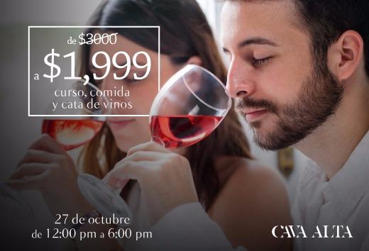 Curso, comida y cata de vino por 1,999