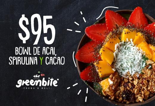 Bowl de acai, spirulina y cacao por $95