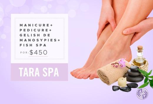 Manicure + pedicure + gelish manos y pies +fish spa por $450