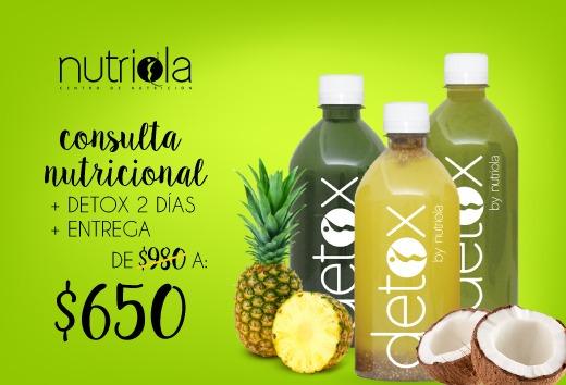 Consulta nutricional + detox 2 días + entrega por $650