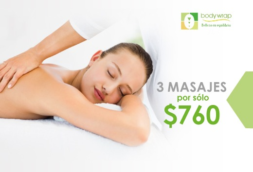 Tres masajes relajantes por $760