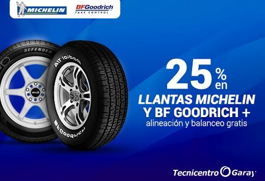 25% en llantas Michelin y BF Goodrich