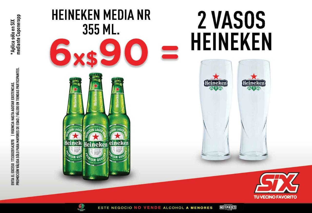 6 Heineken por $90 = 2 vasos Heineken