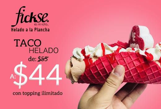 Taco helado de $55 a sólo $44 con topping ilimitado