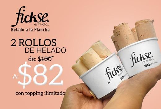 2 Rollos de helado de $100 a sólo $82 con topping ilimitado