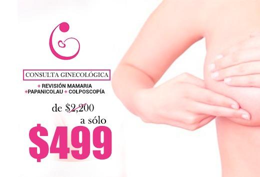 Consulta + revisión mamaria + papanicolau y colposcopía