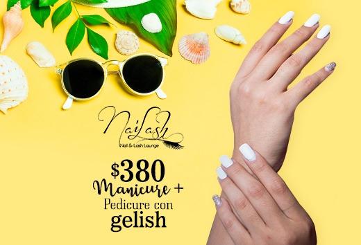 Manicure + Pedicure con Gelish $380