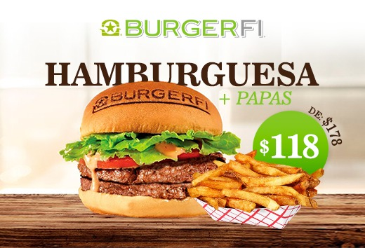 Hamburguesa + papas de $178 a $118