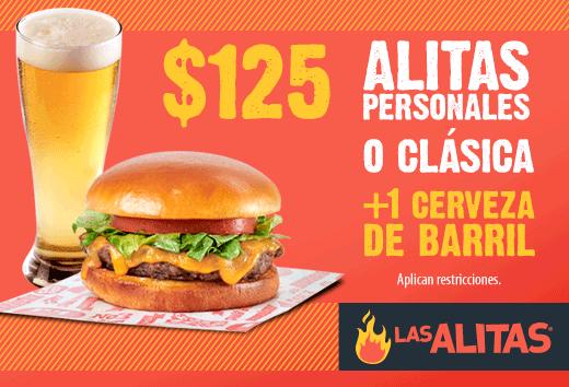 Alitas o Hamburguesa + Cerveza por sólo $125