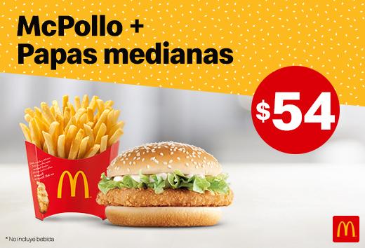 1 McPollo y papas medianas $54