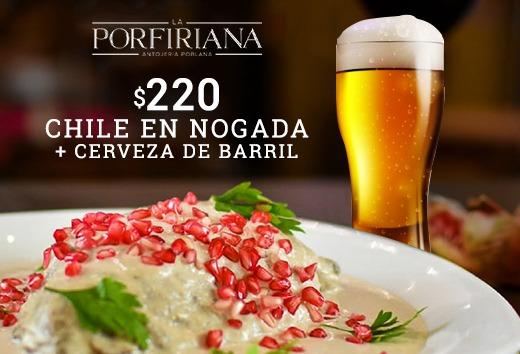 Chile en Nogada $220 + cerveza de barril