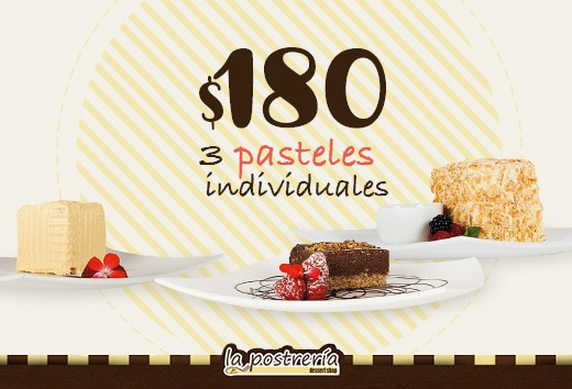 3 pasteles individuales por $180