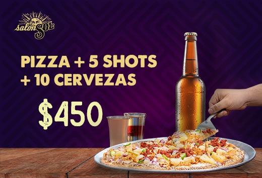 Pizza + 10 Cerveza + 5 Shots