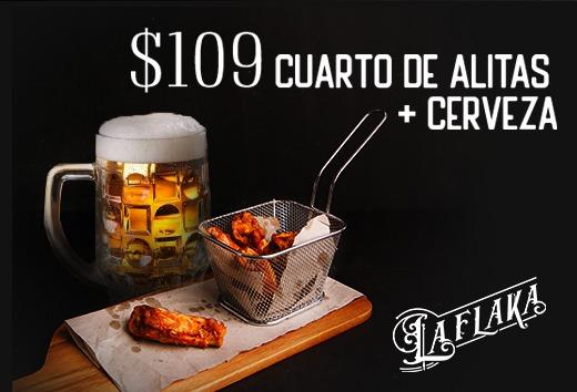 Cuarto de Alitas + cerveza $109
