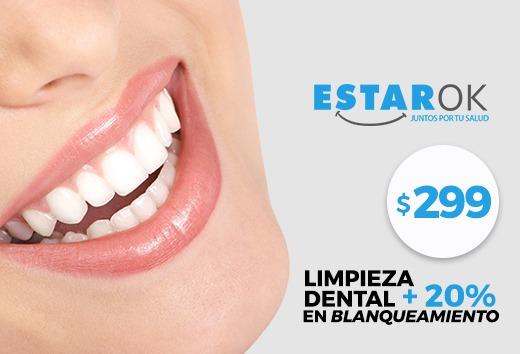Limpieza dental $299 + 20% en Blanqueamiento