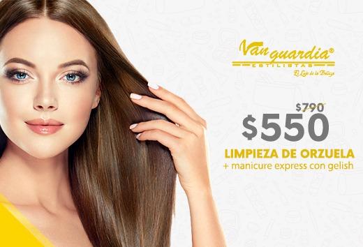 Limpieza de orzuela + Manicure Express con Gelish $550