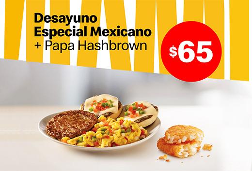 Desayuno especial mexicano y papas hasbrown por $65