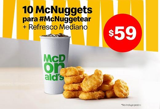 10 McNuggets y refresco mediano por $59