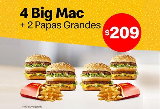 4 BigMac y 2 papas grandes por sólo $209