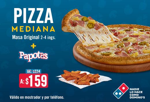 Pizza Mediana 2-4 ing + Papotas $159