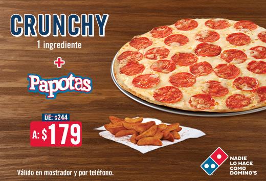 Pizza Crunchy 1 ing + Papotas $179