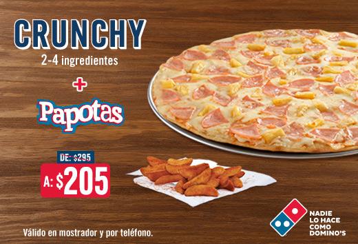 Pizza Crunchy 2-4 ing + Papotas $205