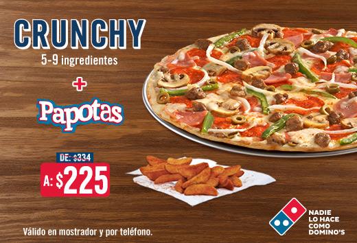 Pizza Crunchy 5-9 ing + Papotas $225