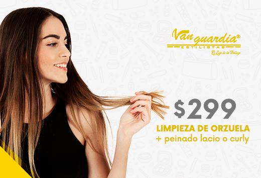 Limpieza de orzuela + peinado lacio o curly por $299