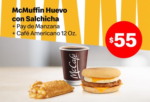 McMuffin Huevo con Salchicha, 1 pay y 1 Café $55