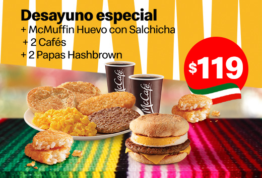 Desayuno + McMuffin + 2 cafés + 2 Hashbrown $119