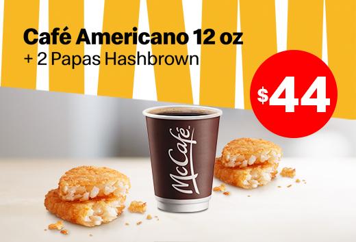 Café americano y 2 Papas Hashbrown por $44