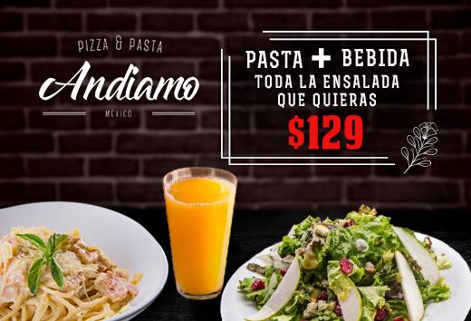 Bebida + Pasta + toda la ensalada que quieras $129