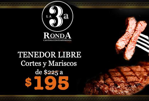 Tenedor Libre Cortes y Mariscos de $195