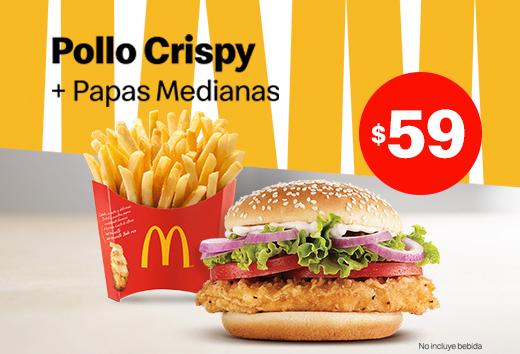 Pollo Crispy con papas medianas $59