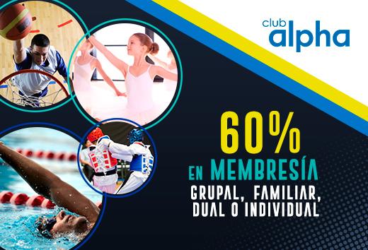 60% en membresía grupal, familiar, dual o individual