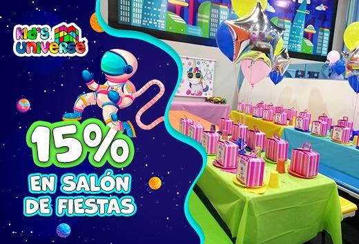 15% en salón de fiestas
