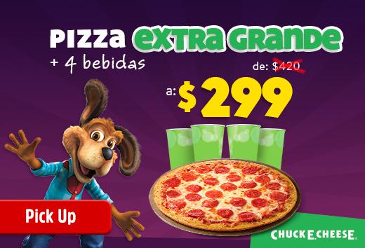 Pizza Extra Grande + 4 bebidas de $420 a $299