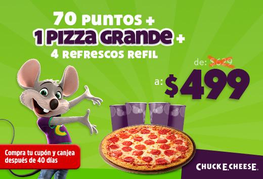 70 puntos + 1 pizza grande + 4 refrescos de refil $499